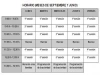 Horario de junio y septiembre