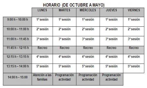 Horario de octubre a mayo